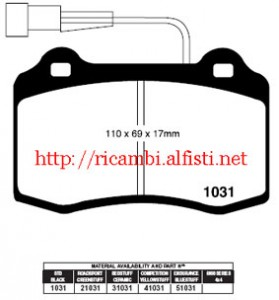 Brake Pads set (FA) EBC-Redstuff Alfa Romeo 147, 156, 156 SW, GTV, Spider (305mm Ø)