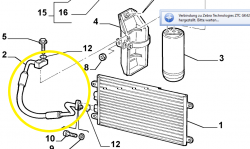 Air condition pipe at the bottom of the condenser  Alfa Romeo 147 (937) 1.6 TS  + 2.0 TS - 60695795